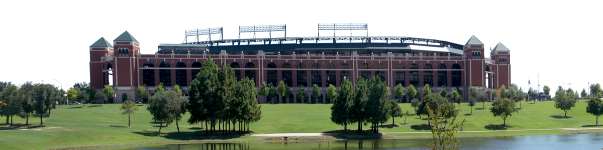 Arlington Baseball Stadium From The North With Lake