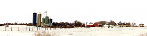 Farm In Winter In Iowa