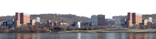 Transition Era Skyline With River